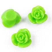 Cabochon rasina floare 17mm - verde
