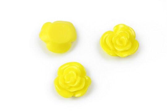 Cabochon rasina floare 14mm - galben