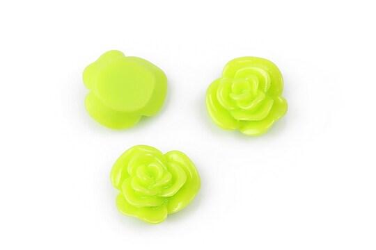 Cabochon rasina floare 14mm - verde deschis
