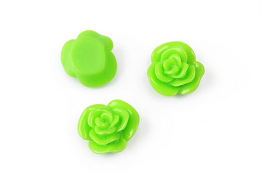 Cabochon rasina floare 14mm - verde