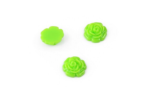 Cabochon rasina trandafir 11mm - verde