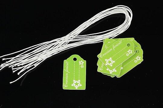 Etichete verzi Craciun Fericit 25x15mm (100buc.)
