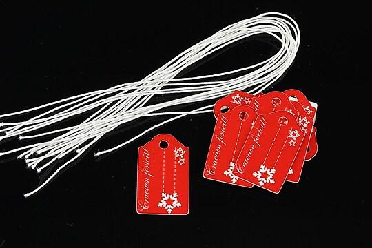 Etichete rosii Craciun Fericit 25x15mm (100buc.)