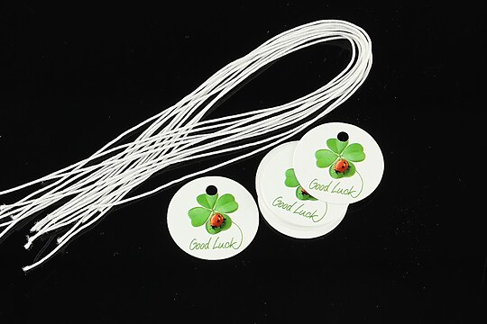 Etichete rotunde Martisor cu trifoi si gargarita 20mm (100buc.)