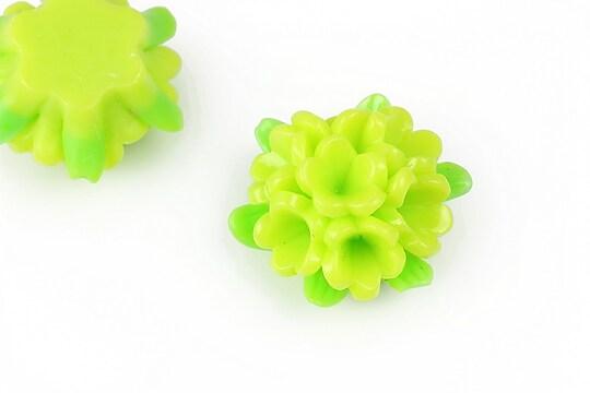 Cabochon rasina buchet de flori 24x28mm - verde deschis