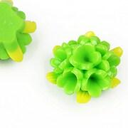 Cabochon rasina buchet de flori 24x28mm - verde