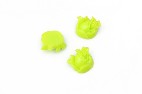 Cabochon rasina boboc trandafir 12mm - verde deschis