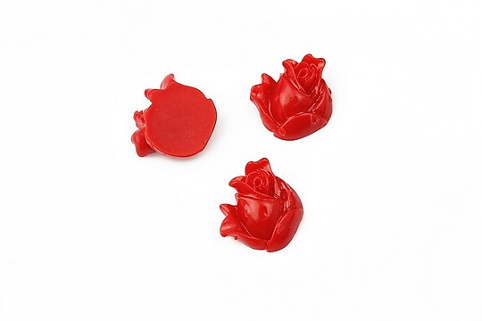Cabochon rasina boboc trandafir 12mm - rosu