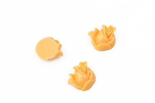 Cabochon rasina boboc trandafir 12mm - portocaliu deschis