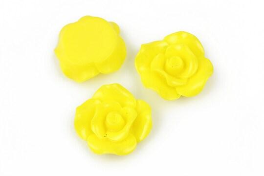 Cabochon rasina trandafir 19mm - galben