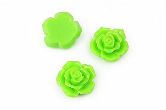 Cabochon rasina trandafir 16mm - verde