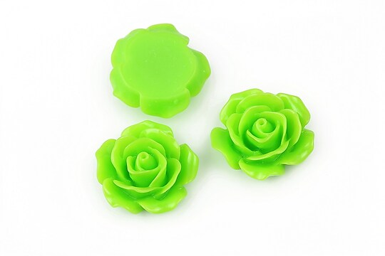 Cabochon rasina trandafir 18mm - verde