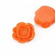 Cabochon rasina floare 19mm - portocaliu