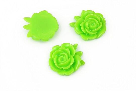 Cabochon rasina bujor 17x18mm - verde