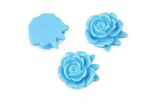 Cabochon rasina bujor 17x18mm - albastru