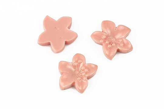 Cabochon rasina floare 17x18mm - rose blush