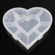 Cutie plastic pentru margele inima cu 9 compartimente 13,5x15,5x2,7cm