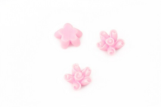 Cabochon rasina floare 12mm - roz