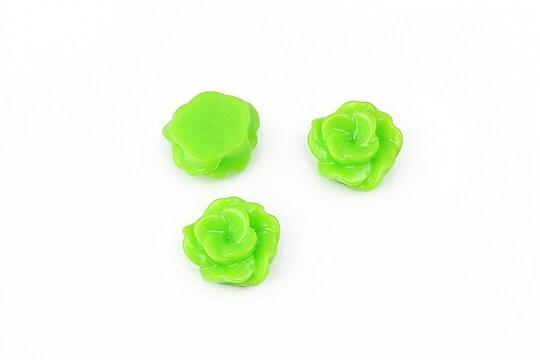 Cabochon rasina floare 13mm - verde