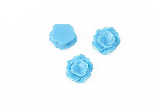 Cabochon rasina floare 13mm - albastru