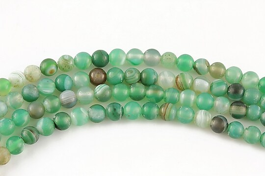 Agate striped frosted sfere 4mm (10 buc.) - verde