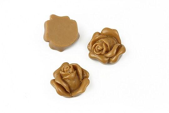 Cabochon rasina trandafir 14mm - maro deschis