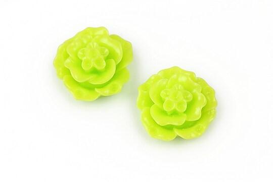Cabochon rasina floare 20mm - verde deschis