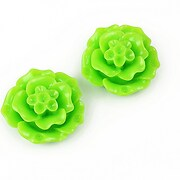 Cabochon rasina floare 20mm - verde