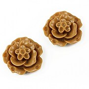Cabochon rasina floare 20mm - maro deschis