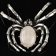Pandantiv cu brosa argintiu antichizat paianjen si cabochon cuart roz 60x47mm