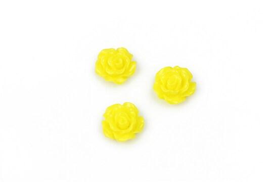 Cabochon rasina trandafir 10mm - galben