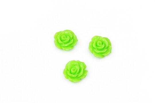 Cabochon rasina trandafir 10mm - verde