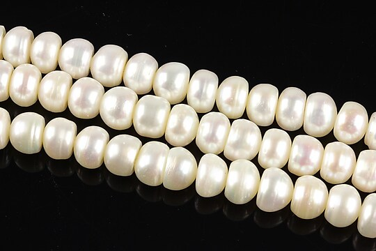 Sirag perle de cultura albe rondele aprox. 5x7mm