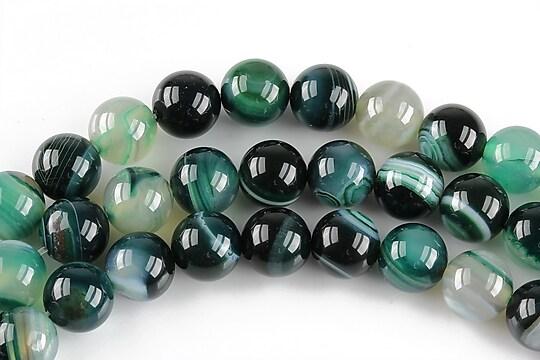 Agate striped sfere 8mm - verde smarald