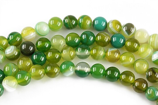 Agate striped sfere 6mm - verde olive