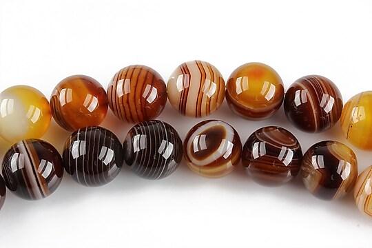Agate striped sfere 10mm - maro