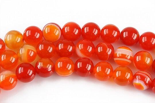 Agate striped sfere 8mm - portocaliu