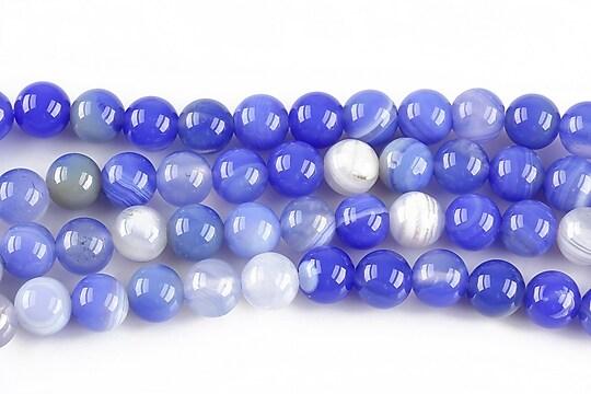 Agate striped sfere 6mm - albastru