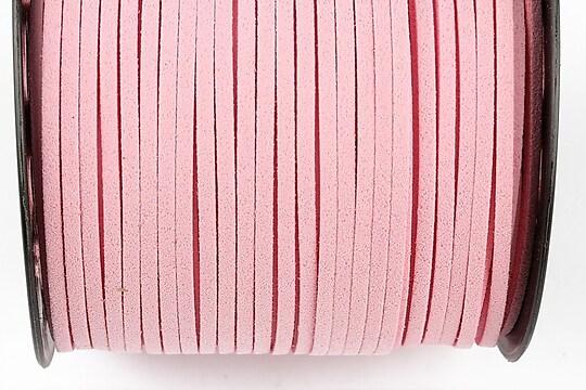 Snur suede (imitatie piele intoarsa) 3x1mm (1m) - roz deschis
