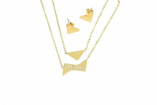 Set colier si cercei otel inoxidabil 304 auriu, model triunghi