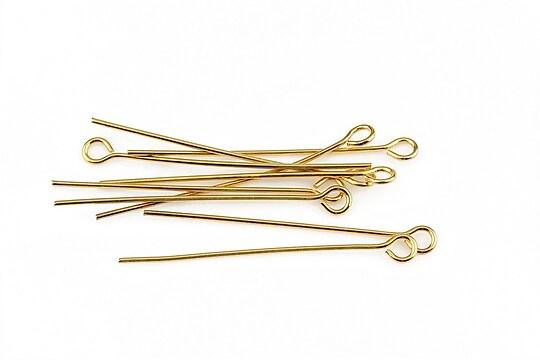 Ace cu bucla otel inoxidabil auriu 3,5cm, grosime 0,7mm (20 buc.)