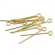 Ace cu bucla otel inoxidabil auriu 2,5cm, grosime 0,7mm (20 buc.)