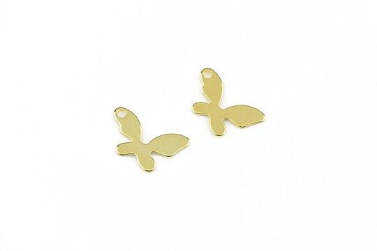 Charm otel inoxidabil auriu 304, fluture 9x14mm