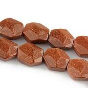 Goldstone hexagon fatetat 12x11mm