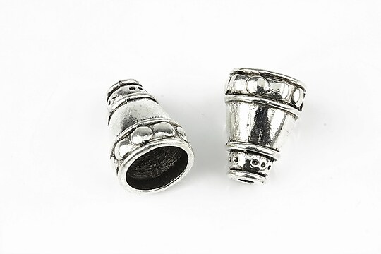 Capacele margele argintiu antichizat 17x12mm