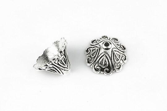 Capacele margele argintiu antichizat 10x14mm