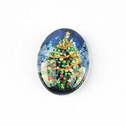 "Cabochon sticla 25x18mm ""Christmas"" cod 1438"
