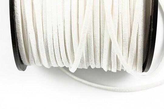 Snur suede (imitatie piele intoarsa) 3x1mm, alb (5m)
