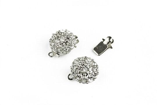 Inchizatoare glisanta argintiu inchis floare cu strasuri 14x10mm