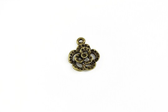 Charm bronz floare 17x14mm